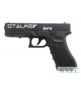 "Пистолет пневматический S17G (аналог ""Glock17"") к.4,5мм, металл-пластик, 120 м/с, черный"