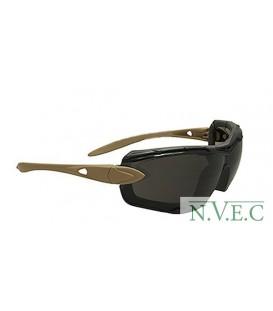 Очки Swiss Eye Detection, 2 комплекта сменных линз, съемная пылевая защита, сменное гибкое оголовье. ц:песочный