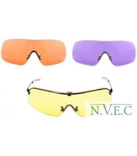Очки FALCON RANGER, оправа с прямыми дужками 140 мм, 3 линзы 64 мм - желтые, фиолет., HD (51,52,58)